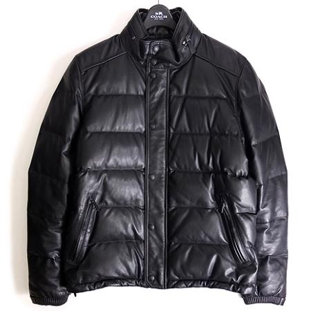 dac3037570d5 コーチ COACH レザー ダウンジャケット カウハイド S 黒 ブラック 秋冬 メンズ