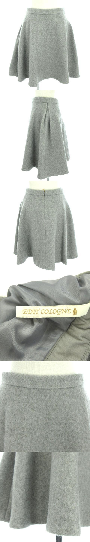 エディットコロン EDIT COLOGNE スカート ひざ丈 フレア ウール混 グレー 3