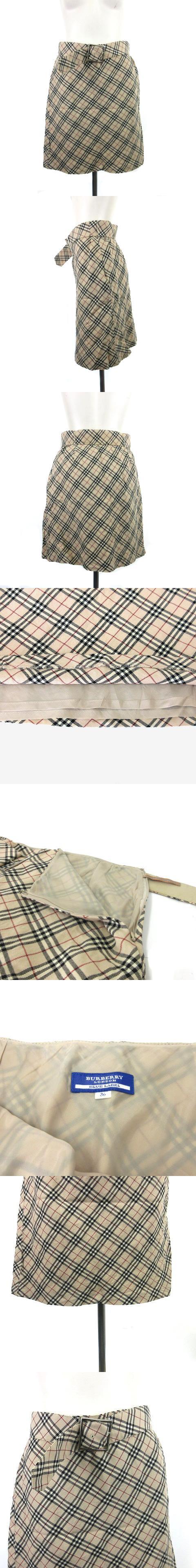 スカート 台形 ミニ ノバチェック ベルト付き FLF70-536 ウール混 ベージュ系 36