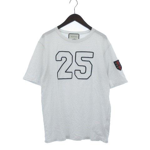 6983694bd493 グッチ GUCCI Tシャツ カットソー 半袖 ダメージ加工 ナンバリング アップリケ クルーネック 白 * ☆AA☆ メンズ