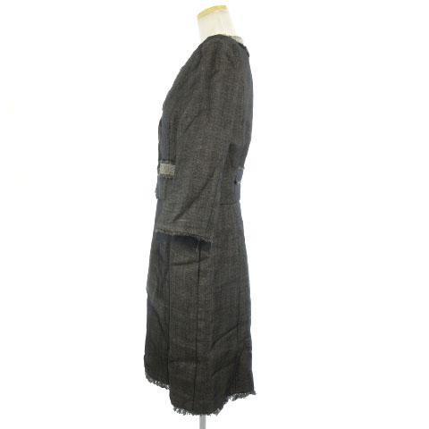 フォクシー FOXEY スーツ ジャケット ワンピース シャドーツイード オーガンジー リネン混 シルク フリンジ グレー系 40 ◆ レディース