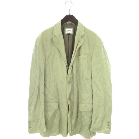 buy online 41daa 27b6b アルマーニ コレツィオーニ ARMANI COLLEZIONI ジャケット テーラード ブレザー 長袖 シングル 光沢 ナイロン混 ベージュ 52  メンズ