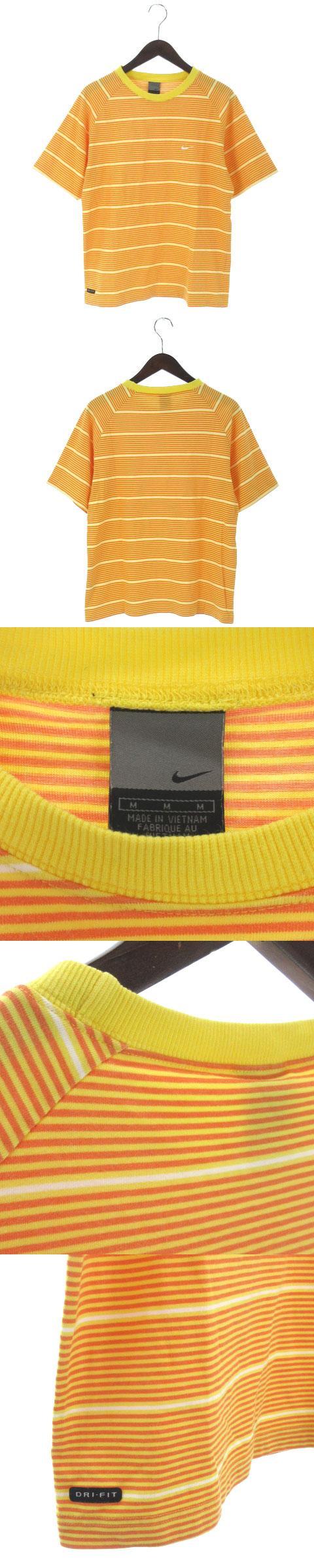 DRI-FIT Tシャツ 半袖 マルチ ボーダー トレーニング スポーツ 黄色 オレンジ M