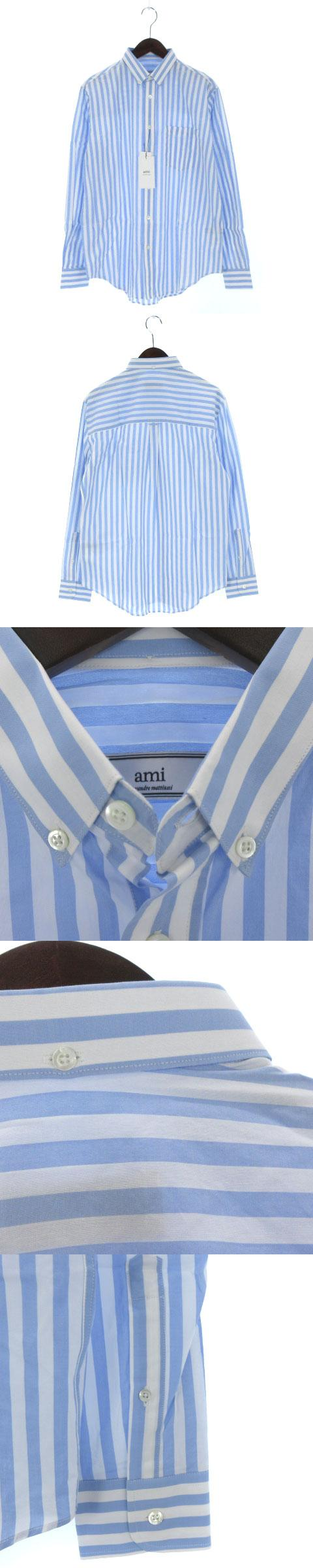 STRIPED SHIRT シャツ ドレス ワイ 長袖 ストライプ ボタンダウン E16C05.50 ライトブルー 青 スカイブルー 水色 39