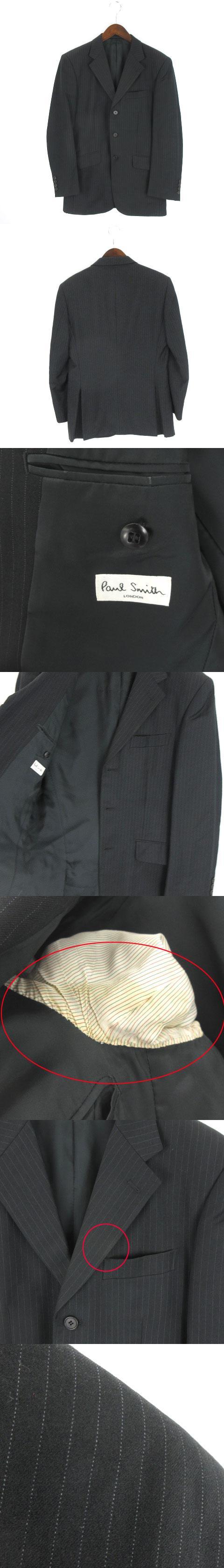 FRATELLI TALLIA DI DELFINO テーラード ジャケット ウール ストライプ シングル 3B 黒 ブラック M
