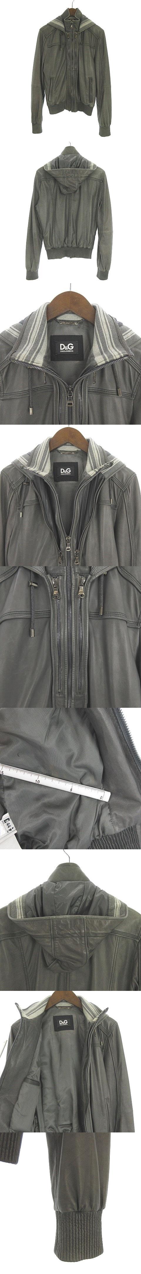 ジャケット ブルゾン ラムレザー ジップアップ グレー 44