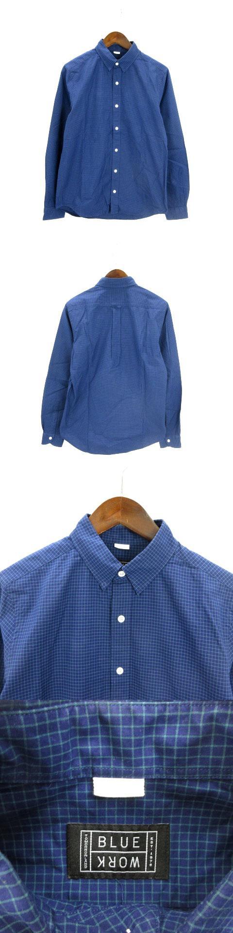 トゥモローランド シャツ 長袖 チェック コットン 紺 ネイビー系 S