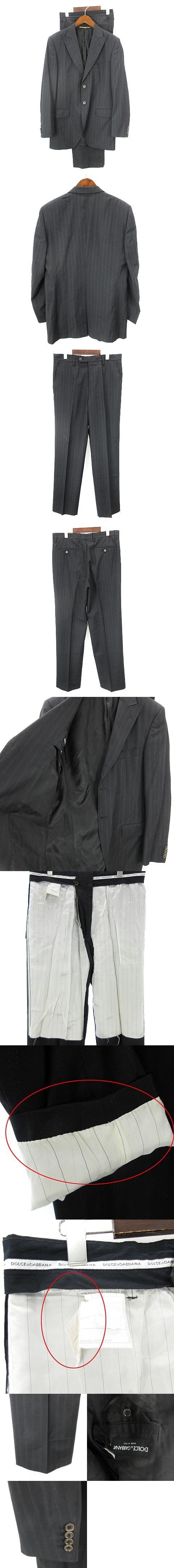 スーツ セットアップ シングル 2B ストライプ 黒系 ブラック 50 ☆AA★