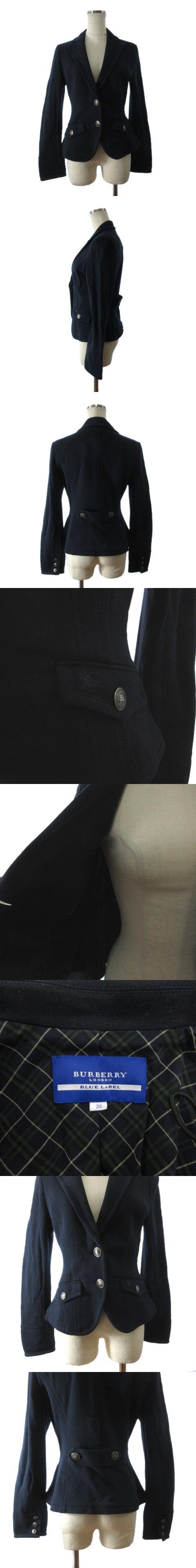 ジャケット 長袖 ノッチドラペル ロゴ コットン ネイビー 紺 38
