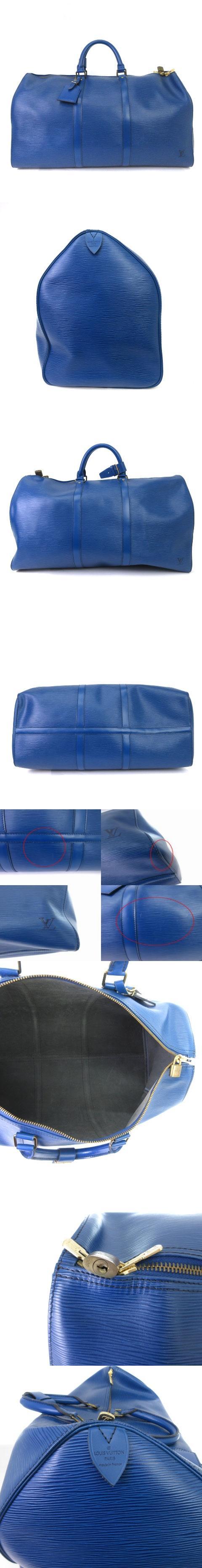 エピ  キーポル50 ボストンバッグ ハンドバッグ ロゴ レザー M42965 青 ブルー 旅行鞄