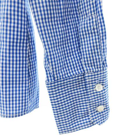 マックスマーラ ウィークエンドライン MAX MARA WEEKEND LINE シャツ ブラウス 長袖 ワーク ギンガム チェック 紺 白 ネイビー ホワイト L レディース