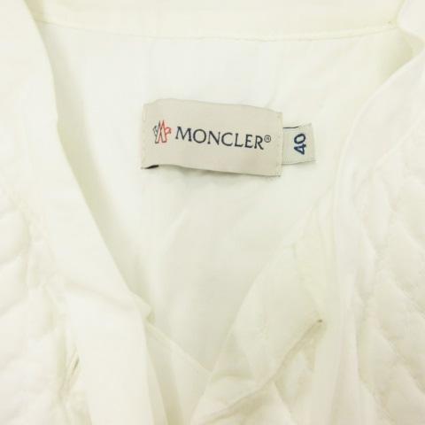 モンクレール MONCLER 18年製 ワンピース ひざ丈 ノースリーブ フリル リボン コットン C1-093-6810068100 白 ホワイト 40 レディース