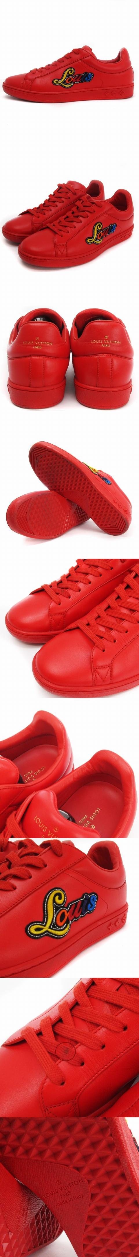 ルクセンブルクライン スニーカー ローカット ワッペン レザー 1A3TBL 赤 レッド 6 靴