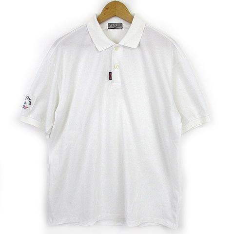 34967b6a42613 マンシングウェア MUNSINGWEAR ZYXON ポロシャツ ゴルフウェア 半袖 鹿の子 ワンポイント 白 ※Y メンズ
