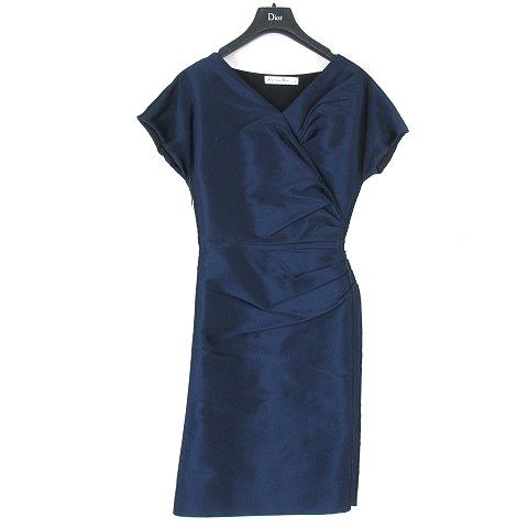 purchase cheap ad146 971ee クリスチャンディオール Christian Dior ドレス ワンピース フレンチスリーブ ギャザー シルク シャイニー ネイビー 34 レディース