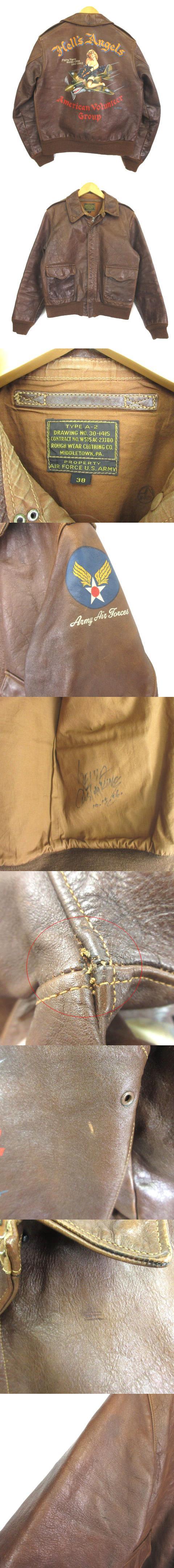 ラフウエア A-2 カスタムキング ペイント フライトジャケット レザー ブラウン 茶 38