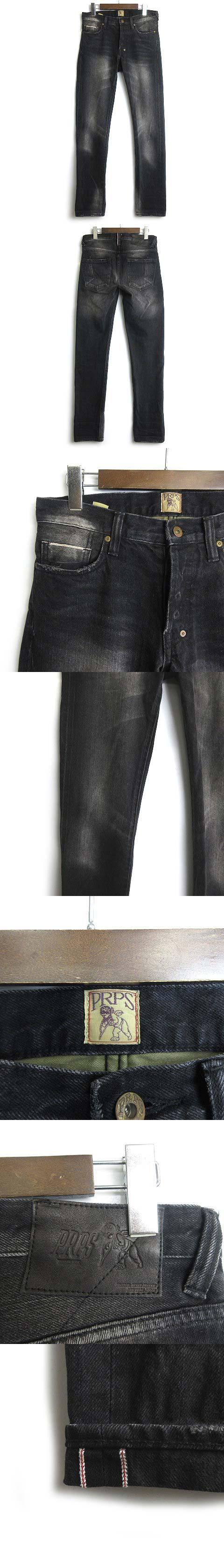 デニムパンツ ジーンズ SKINNY FIT RAMBLER CREASED JEANS 30 黒 ブラック ■VG