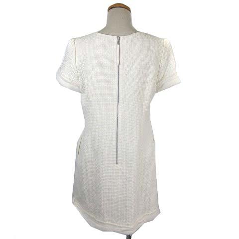 フォクシー FOXEY 33894 Dress Blanche ワンピース 半袖 ひざ丈 ツイード フリンジ 白 ホワイト 42 ■IBS68 レディース