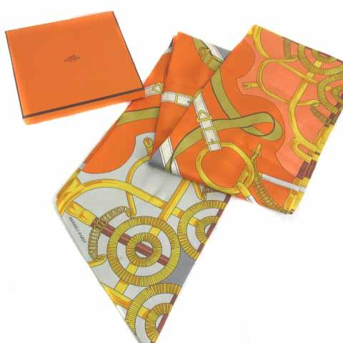 エルメス HERMES マキシツイリー チェーン スカーフ シルク100% オレンジ グレー  レディース
