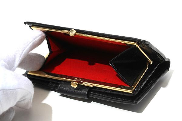 3ef478c91b97 ... GUCCI グッチ 本革 ロゴ金具 がま口 二つ折り財布 サイフ ウォレット 黒/◇☆