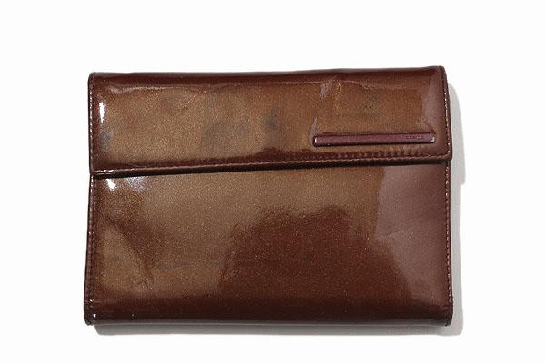 PRADA プラダ パテント レザー 二つ折り 財布 ブラウン/◆☆ レディース