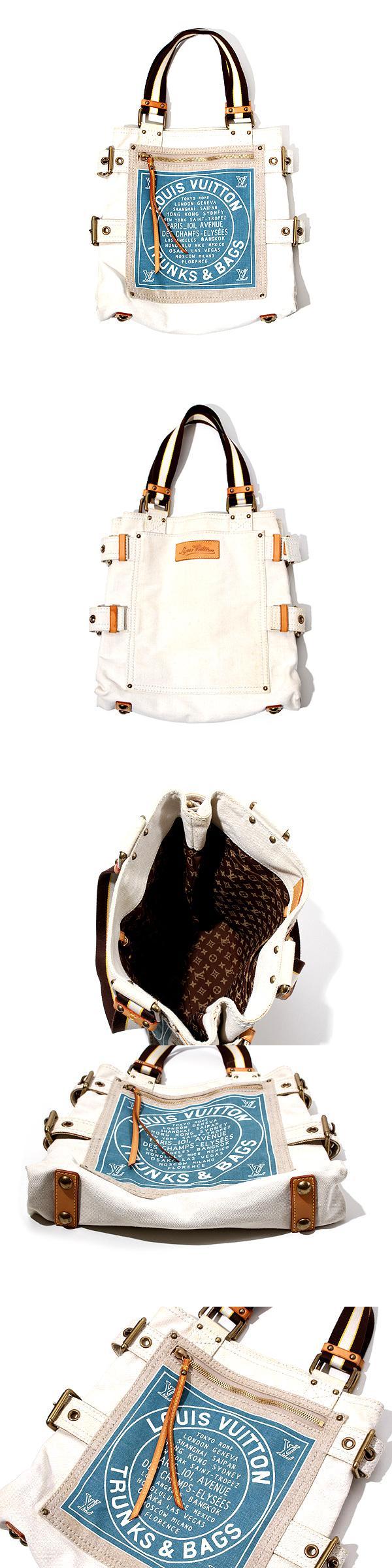 LOUIS VUITTON ルイヴィトン クルーズライン グローブショッパーMM 青 M95114 キャンバス トートバッグ ハンドバッグ/●