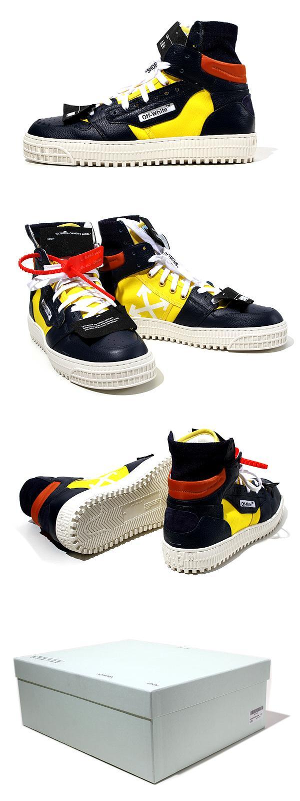 未使用品 2019SS OFF-WHITE c/o VIRGIL ABLOH オフホワイト Off-Court Low 3.0 Sneaker ハイトップ スニーカー 40 BLACK YELLOW/●
