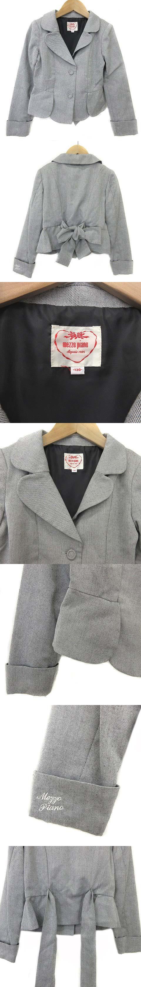 キッズ ジャケットテーラード リボン グレー size 130 ■CA7 0314