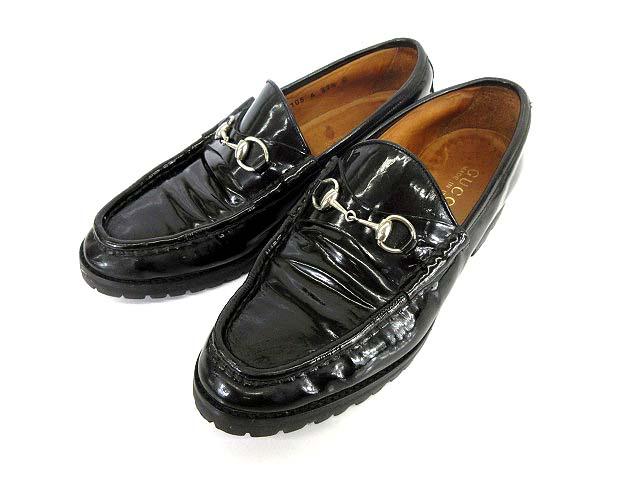 cheap for discount 96f4e 34939 グッチ GUCCI エナメル ビット ローファー ブラック 靴 37 1/2 1220 レディース