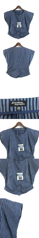 笹倉玄照堂 吉兆藍木綿 シャツ 半袖 和柄 縞模様 総柄 藍染 紺 ネイビー M 33801 0110