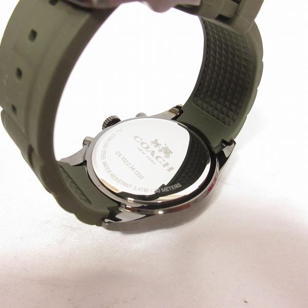 best service e9f93 424b6 コーチ COACH 美品 腕時計 サリヴァンスポーツ アナログ クォーツ 3針 クロノグラフ ラバーベルト ガンメタル カーキ J181028 メンズ