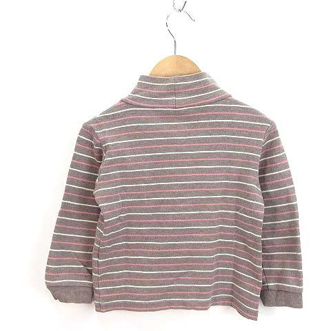無印良品 良品計画 キッズ Tシャツ カットソー ボーダー柄 ハイネック 茶系 100cm 1062-A