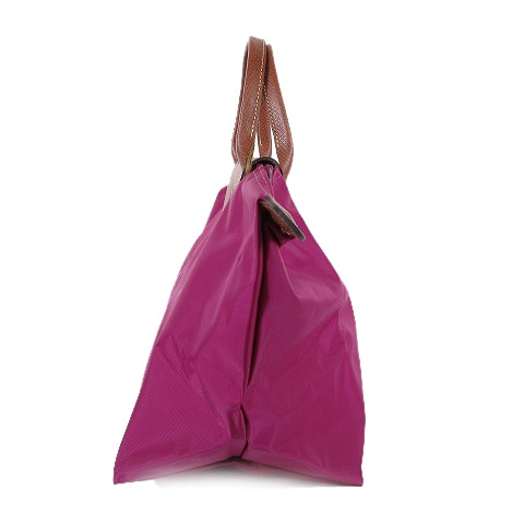 83df5709b6e9 美品 ロンシャン LONGCHAMP トートバッグ 折り畳み ナイロン レザー 紫/△Q09 レディース ...