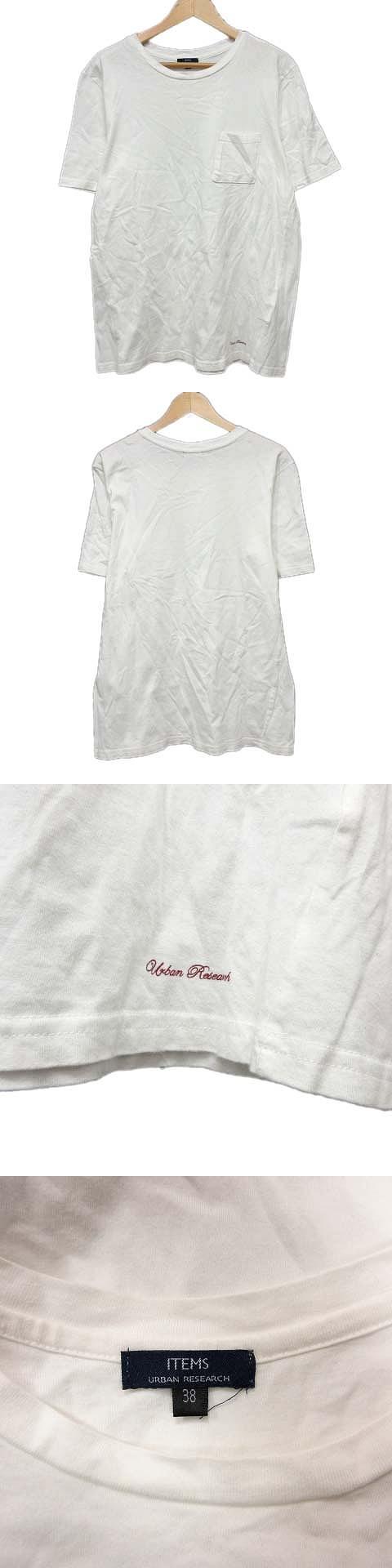 Tシャツ 半袖 ロゴ 胸ポケ カットソー 38 白 ホワイト/19