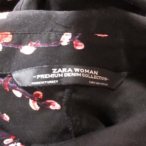 ザラ ZARA シャツワンピース 花柄 マキシ丈 ロング 長袖 S 黒 ブラック マルチカラー/6 レディース