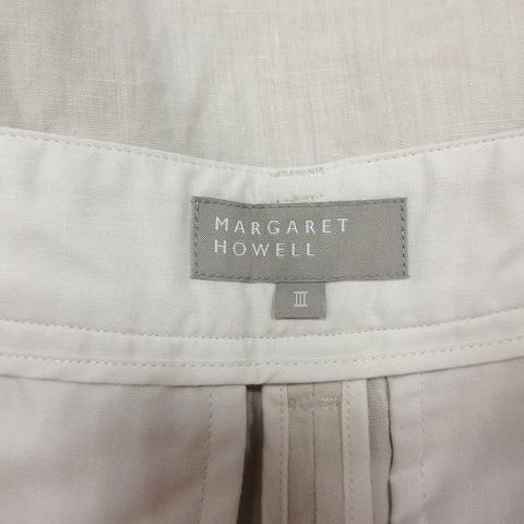 マーガレットハウエル MARGARET HOWELL リネン100% ハーフパンツ ショーツ 無地 3 ベージュ/9 メンズ