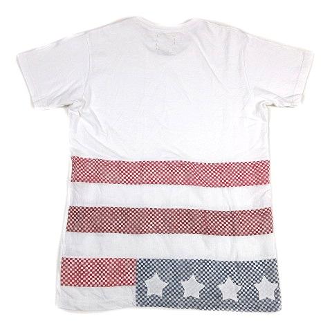 ビズビム VISVIM 美品 16SS スポット FLAG TEE S/S STARS フラッグ Tシャツ 半袖 星条旗 パッチワーク カットソー 1 白 ホワイト 0116305010010/F64 メンズ