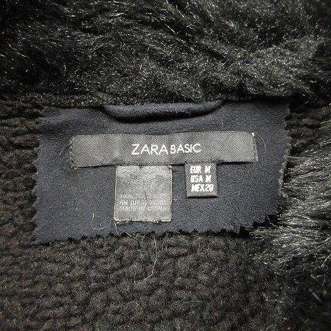 ザラ ベーシック ZARA BASIC ムートン ライダース ジャケット ブルゾン ファー ショート丈 コート M 黒 ブラック/5 レディース