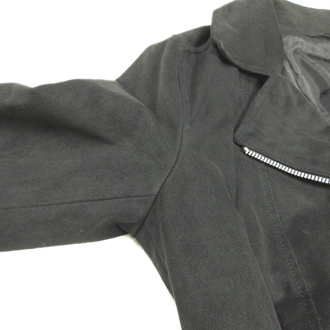 ユニクロ UNIQLO スエード調 ライダース ジャケット ブルゾン アウター M 黒 ブラック/28◆5 レディース