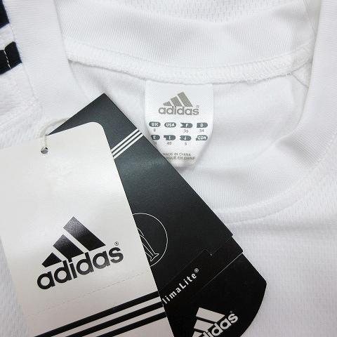 アディダス adidas Tシャツ カットソー 3ライン CLIMALITE 長袖 S 白 ホワイト 黒 ブラック/12 レディース