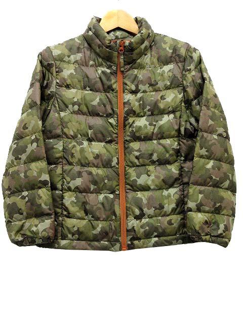 d0717d0116e67 ユニクロ UNIQLO ライトポリフィル ダウン ジャケット ジップアップ 迷彩 カモフラ カーキ 130 子供服