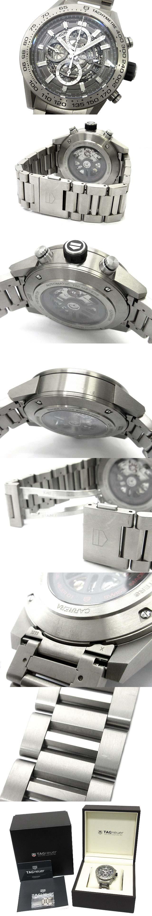 カレラ キャリバー ホイヤー01 グレーファントム チタン CAR2A8A.BF0707 メンズ 腕時計 クロノグラフ 自動巻き スケルトン