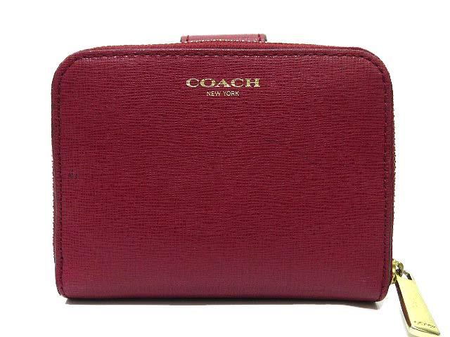 purchase cheap 3668e bf680 コーチ COACH 二つ折り 財布 レザー ラウンドファスナー 小銭入れ ワインレッド レディース