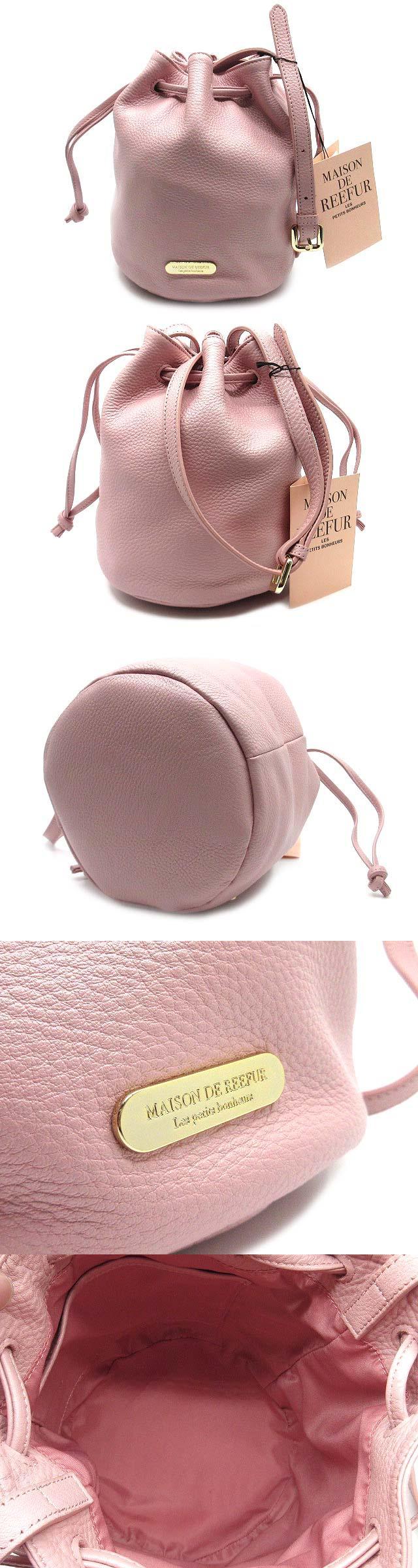ショルダーバッグ ミニ 巾着 レザー ロゴプレート ピンク 超美品