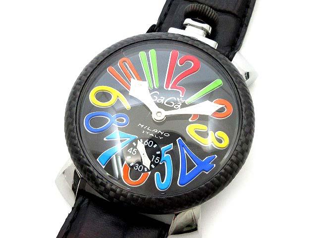 huge selection of 86295 8e3c0 ガガミラノ GaGa MILANO マニュアーレ 48mm 5015 手巻き メンズ 腕時計 カーボン ブラック マルチカラー マヌアーレ  MANUALE ☆AA★