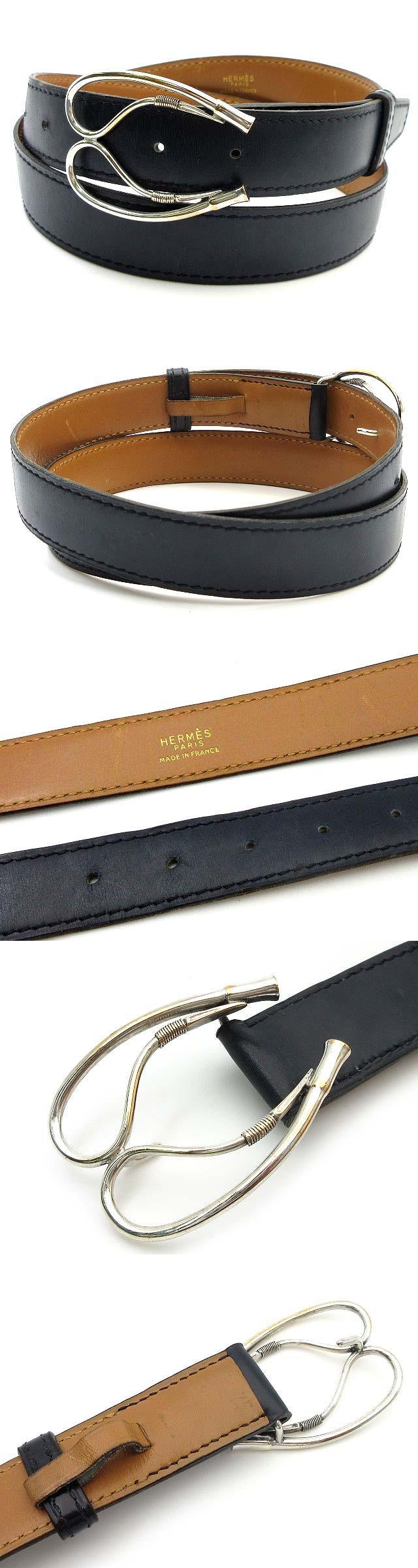 ヴィンテージ レザー ベルト 75cm ネイビー シルバー金具 ○H 1978年製