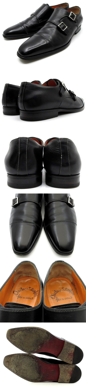 ダブルモンク ストラップ シューズ ストレートチップ ビジネス レザー ブラック 黒 8.5 F 約27cm