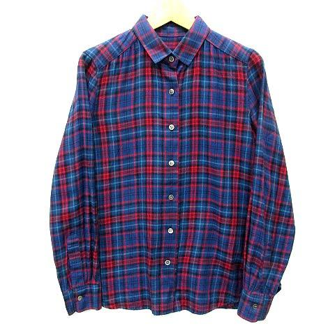 ロペ ROPE チェック ネルシャツ 長袖 ネイビー レッド 紺 赤 36 美品 レディース