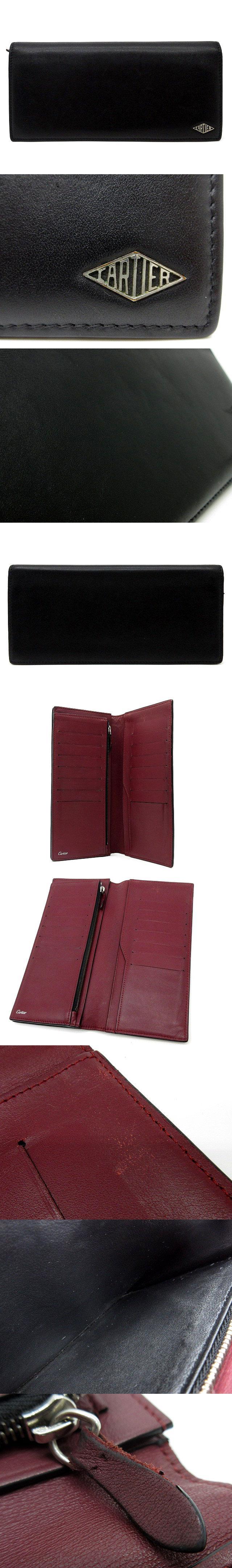 ルイ カルティエ 二つ折り 長財布 インターナショナル ウォレット カーフレザー L3001405 黒 ブラック ボルドー