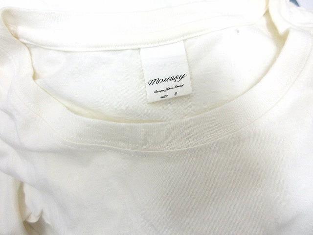 マウジー moussy カットソー Tシャツ 長袖 薄手 英字 プリント アイボリー M ☆★ レディース